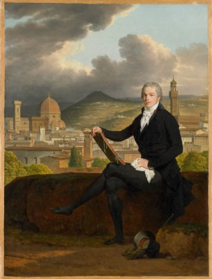 Portrait of Dr. Thomas Penrose holding a sketch book, seated on a bank overlooking the Duomo and Palazzo Vecchio, Florence, Italy.