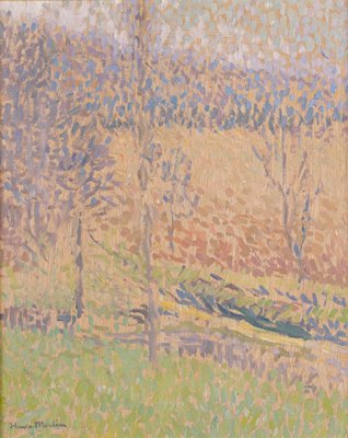 Abstracted trees in greens, blues, yellows and pinks on brown ground