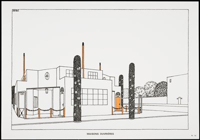 two level building with tangerine accents three columns two front and one behind tangerine - Architecture Moderne Maison Dessin