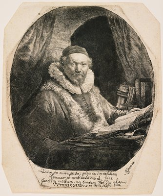 octagonal plate and sheet; portrait of a man seated at a table with book open in front of him, and other books on table and at right; man wears cap, ruffled collar and fur stole; beard and moustache; four-line Latin inscription at bottom