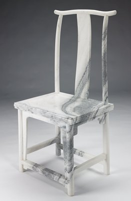 white and grey veined marble; carved sculpture in the form of a Chinese side chair with curved back