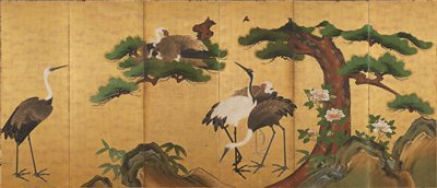 family of cranes under the boughs of a pine tree against gold background; rocks and bamboo leaves along bottom; peony blossoms at R