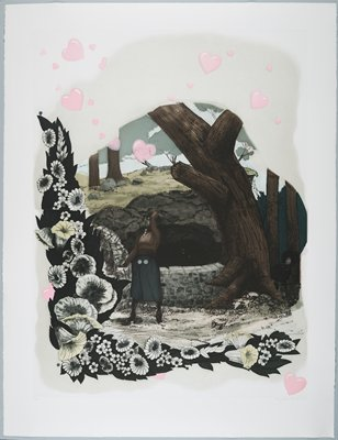 colored etching; woman in center, PL arm raised throwing yellow flower petals into a well in a sparsely wooded area; large tree next to well, trunk curves upwards toward left; man looking out behind large tree watching woman at well; boarder of white flowers edges LLC, reaching upwards to top left corner and along the bottom toward LRC; pink hearts scattered along top and sides of image