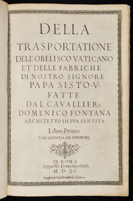 text with engravings of architecture--building facades, obelisks, monuments, aerial views; several fold-out pages; white cover with pale leather spine