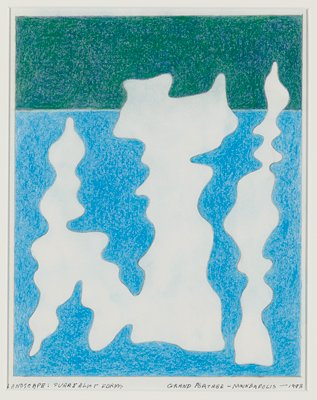two vertical white biomorphic forms with light blue shading; field of blue at bottom of image, green at top