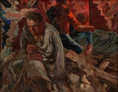 seated man with a grey overcoat drawn around him, with a helmet (?) over his PL knee, at left, in a ruined brick building; two figures seen from back--one seated wearing a blue shirt, one standing wearing a red shirt with PR arm around shoulders of figure in blue shirt, in URQ