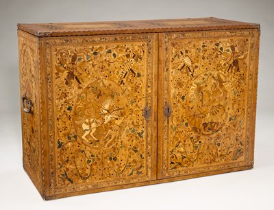 pictorial marquetry on top, front, sides, inside the lid, inside the doors, and throughout the inner drawer fronts and inner cabinet doors; images of soldiers and knights, some with horses, fighting various real and mythological animals and men; elaborate scrolls and floral edging with birds, animals, and various flowers and foliage; back on cabinet, inner top, and inner doors veneered in marquetry simulating paneling; wood of various shades including green; heavy metal handles on each short side; elaborate metals corners and hardware on inside and outside with scrolling motifs and bluing; compartments and drawers numbered in blue chalk; three keys; two secret compartments behind inner central removable section with four drawers on each side