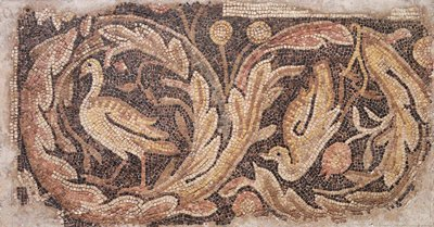 mosaic, oblong representing birds surrounded by foliage and pomegranates in multicolors; known to have come from the floor of an early christian church near Antioch