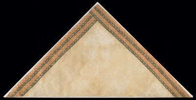 triangular fragment decorated with rust-red and dark brown geometric stamps in 4 repeated rows on 2 sides; beige ground