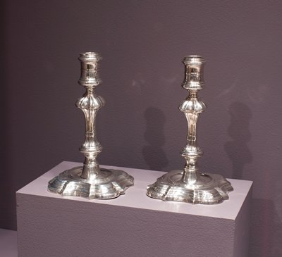 Candlestick, silver, English XVIIIc cat. card dims H 7'
