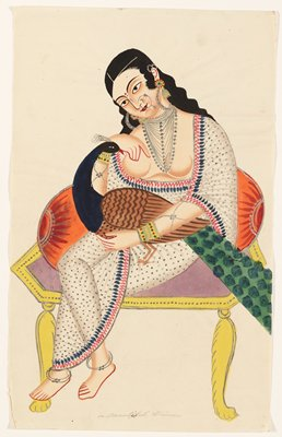from a collection of Twenty Calcutta Paintings, watercolor on handmade paper, heightened with gold metallic paint; termed the post cards of the period.