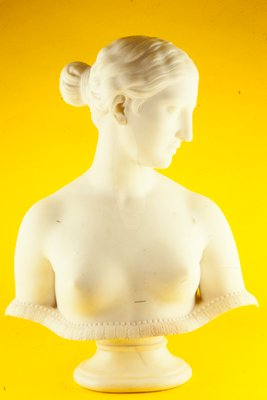 Full bust, undraped, head turned left in profile slightly downward. The figure terminates just below the breasts by means of a shallow, saucer-like border with reeded edge and is attached to a circular socle.