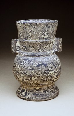 Vase in form of a Yu; grey and white marbled pottery.