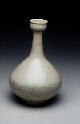 vase pyriform with cup-like mouth; porcelain with crackled blue-green glaze