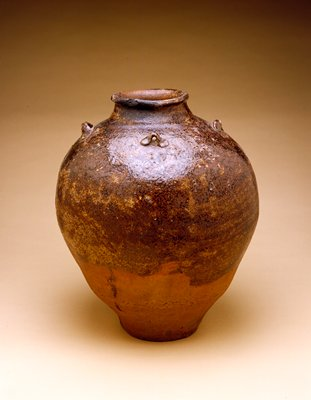 jar, with brown to olive glaze; high-fired stoneware