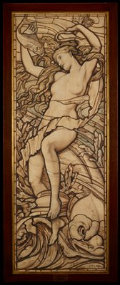 Design for a stained glass window; once thought to be by Dante Gabriel Rosetti