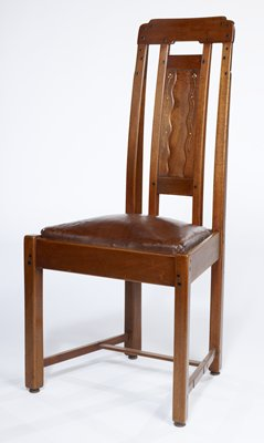 One of a Set of Twelve chairs designed by the Greenes for the dining room of the Robert Blacker House and made in the workshop of Peter Hall, Pasadena California.
