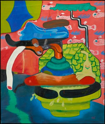 mostly abstract in bright colors with several fish-like elements against pink in URQ