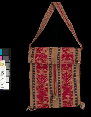envelope-style bag with folded-over top; short strap; tassels at bottom corners; red tie closures with black and brown tassels; tan with vertical bands--red bands with stylized figures and birds and linear brown and red bands