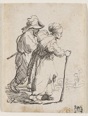 man in background and woman in foreground walking toward the right edge of the picture plane; woman holding a walking stick; loose drawing of foliage in background in front of figures; matted and in frame with four other prints