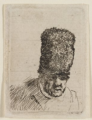 bust of a male figure, leaning slightly forward, with a large nose and heavily shaded brow; tall, furry hat; light shading on shoulder