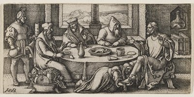 round table at center with Christ gesticulating at R; three men around table listening; a man at L stands, holding a teapot; woman on floor at Christ's feet