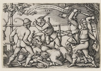 six men in peasant clothing fighting with clubs, swords, daggers, and spears; woven fence with grapevines in background