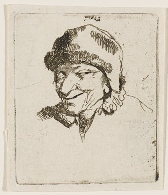 bust of a male figure with narrowed eyes, smirk, and large nose, wearing a large hat; ruffles at collar