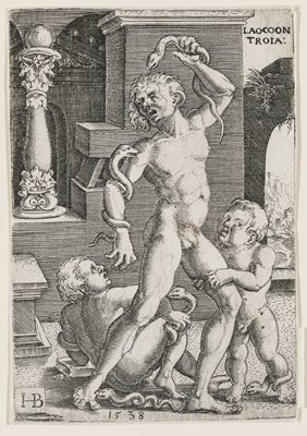 nude male figure at center fighting snakes off of his arms and legs; toddler with a snake on his leg grabs at the man's PL leg, while a young boy to the man's PR struggles with a snake on his own leg; stone archway and pillars in background