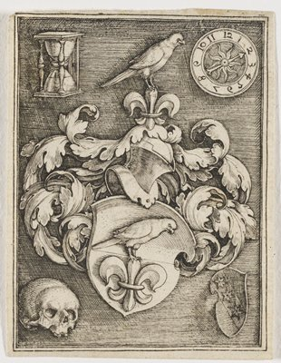 image of a shield with a fleur de lis on it and a bird perched on top, surrounded by foliage; UR corner is a clock with one hand; UL corner is an hourglass; LL corner is a skull; LR corner is a shield with three stars diagonally across it, framed with other artworks [Lacks inscription frame]
