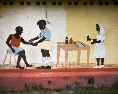Color image of a painted mural of three figures; one figure administers a vaccine to another white a third figure holds two bottles in her hands