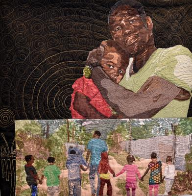 larger image on top of a man in a green t-shirt holding a child to his shoulder; black ground with gold bulls-eye pattern behind them; color image in LR corner of a man and seven children holding hands and walking away from the viewer in an exterior scene; rod pocket on verso for hanging