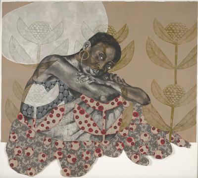 Black figure in center, with cropped hair, gold hoop earrings, gazing outward; arms crossed; taupe background with white, rounded shape in ULQ; tall, floral shaped in gold pigments at L, R and C; decorative paper with black and white, rounded floral shapes at bottom; round, hand-stitched decorative paper, with red stitching and rounded red shapes with black lines, overlap the black and white floral paper; petal shapes in same stitching and red and black decorative paper in center and in LLQ; black and white leaf pattern at PR torso of figure; red diagonal stitching in LRQ; unframed