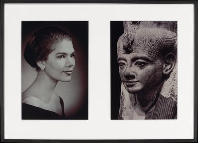 two black and white photographs matted and framed together; a (left) = portrait of young woman with her hair pulled back, turned slightly toward her left, wearing an arc-form earring and a V necked black garment; b (right) = ancient Egyptian sculpted portrait of a woman with a slight smile