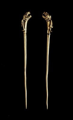 one of a pair of hairpins or ornaments, dragon head; cire perdue;