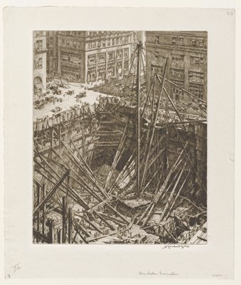 construction site in a large reinforced pit with workers throughout; busy street scene at top of image with cars and people in city