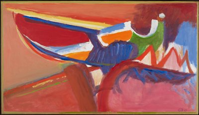 pink, red and orange ground with shapes at R in blues, white, orange and green; yellow line in ULQ