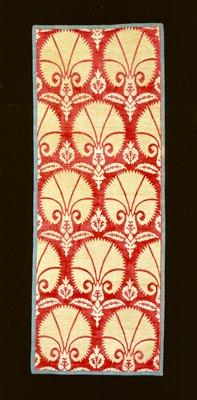 Brocade, velvet, palmette pattern, voided velvet on gold ground