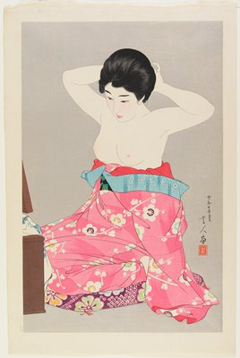 later edition; woman seated on a purple, green, orange and blue floral cushion; bare-chested woman wearing pink, white, purple, blue, orange and green floral kimono pulled below her breasts, arranging her hair