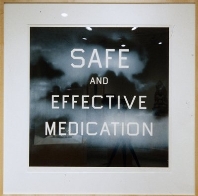 "blue and black blurry clouds or smoke; white block letter on top of image:  ""SAFE / AND / EFFECTIVE / MEDICATION"""