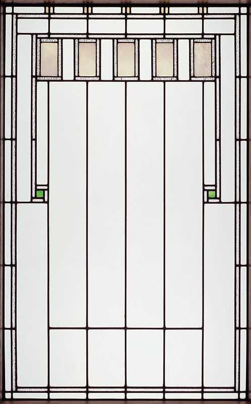 rectangular window with five small rectangles in a horizontal row at top, overall linear decoration