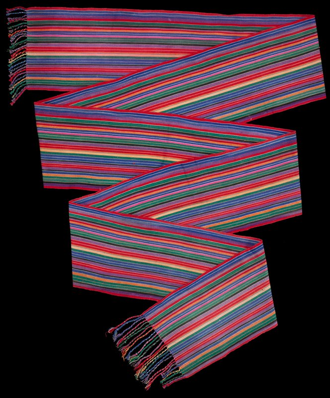 red, purple, brown, yellow, green, orange, pink and white various stripes; twisted fringe at each end