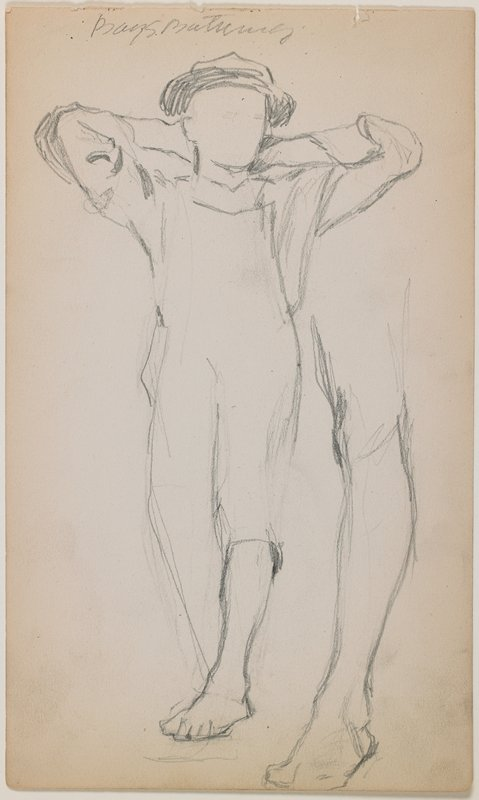 recto: incomplete sketch of boy in cap and overalls, with hands behind his head; study of leg at right; verso: figure study with three sketchy figures--one seated