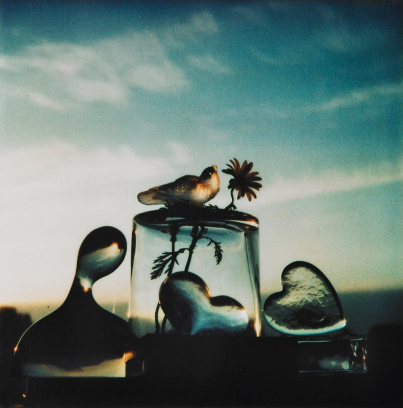 bird figurine and flower on top of a glass; two glass hearts - one under first glass; biormophic glass form at left; blue sky with clouds