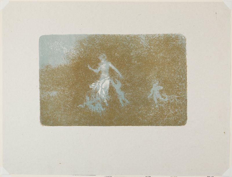 abstracted, blurry image in brown, blue and white of standing woman with three small figures (putti?)