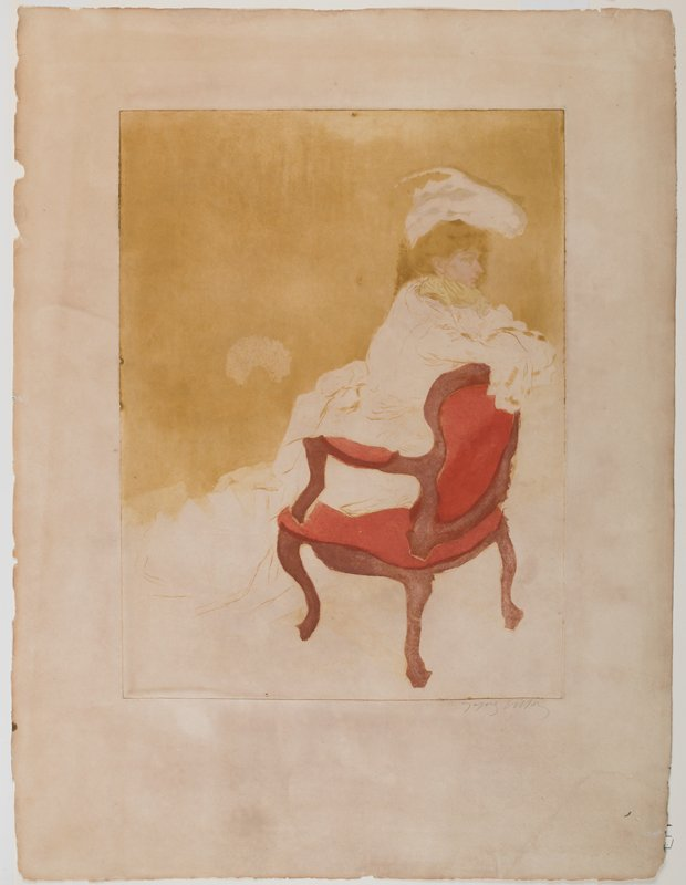 woman kneeling on a chair, resting her arms on the chair back; woman wears long white dress and white hat with green gloved hand under her chin; red and maroon armchair; mustard yellow ground at top