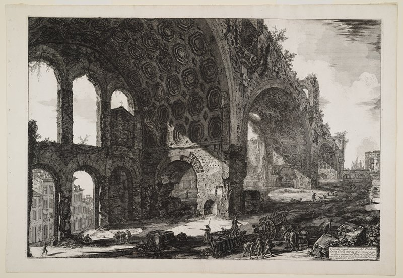 three very large archways, cut with various smaller arches on two levels and surmounted by free-standing arches; goats and figures at right in middle ground; figures with a wagon and two horses in foreground; other figures and mule in LLC