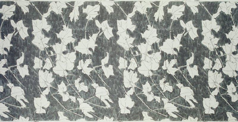 Ecru leaves sketched on light to dark grey ground