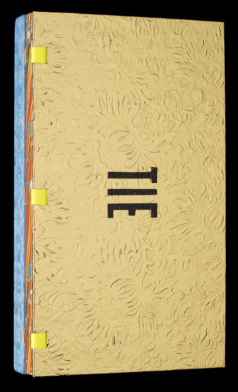 """gold front cover with """"TIE"""" in black; thick blue wood back cover; abstract color images; black and white and color photographs; most pages separated by iridescent, shiny, metallic or plasticized paper or plastic sheets"""