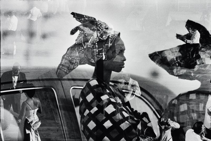 two images: African woman in front of a car wearing a head wrap and couples in evening clothes, dancing